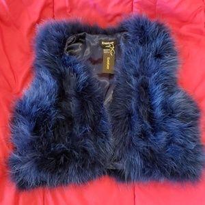 Bebe navy feather vest